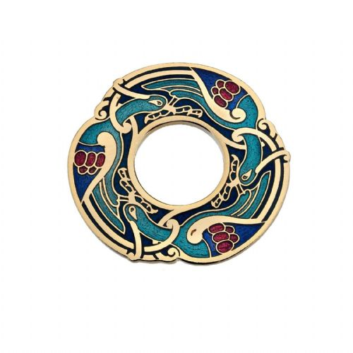 Blue Celtic Birds Brooch Gold Plated Brand New Gift Packaging